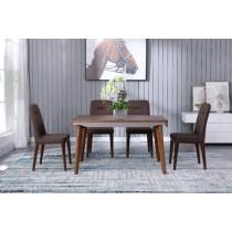 歐克斯4.5尺實木餐桌組(1桌4椅)(咖啡色餐椅)