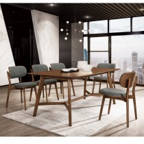 斯麥格6尺胡桃餐桌(1桌6椅)