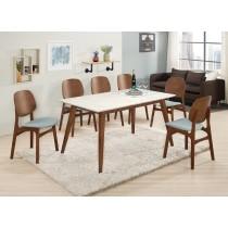 魯伯德5尺石面餐桌(1桌6椅)
