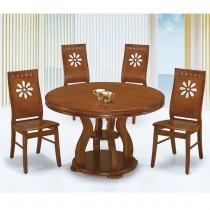 4尺柚木色圓餐桌(1485)(1桌6椅)