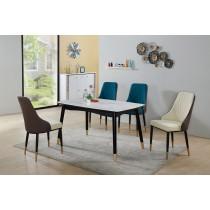 莫里蒂4.5尺玻璃餐桌(1桌4椅)米白色皮餐椅