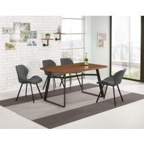 提姆4.3尺餐桌(1桌4椅)伯頓灰色皮餐椅