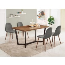 依丹4.6尺餐桌(1桌4椅)柯亞淺灰布餐椅