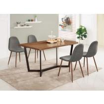 依丹4.3尺餐桌(1桌4椅)柯亞淺灰布餐椅