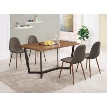 依丹4.6尺餐桌(1桌4椅)妮莉棕色布餐椅