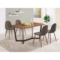 依丹4.3尺餐桌(1桌4椅)妮莉棕色布餐椅