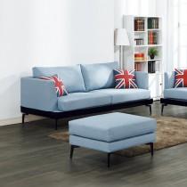 米克藍色三人布沙發