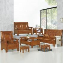2955型柚木色實木組椅(三人座)