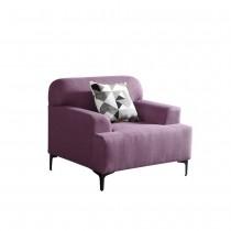 克里森紫色單人布沙發