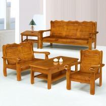 766型柚木色實木組椅(三人座)