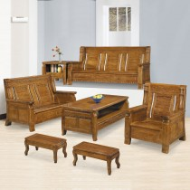 7088型樟木色實木組椅(全組)(附坐墊)