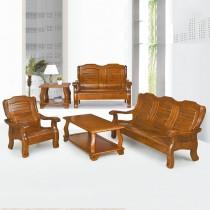361型淺胡桃色實木組椅(三人座)