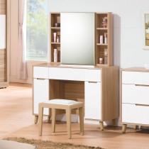 肯詩特烤白雙色3.3尺鏡台/化妝台(含椅)