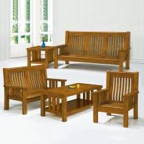 7258型樟木色實木組椅(三人座)