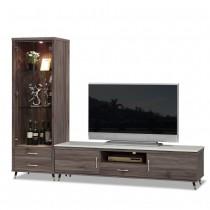 貝克8尺灰橡色石面L櫃(展示櫃+6尺電視櫃)