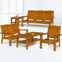 559型柚木色實木組椅(三人座)
