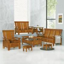 5569型柚木色實木組椅(雙人座)