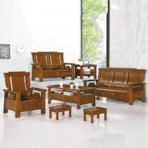 3108型深柚木色實木組椅(三人座)