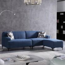 文森特藍色L型布沙發