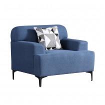 克里森藍色單人布沙發