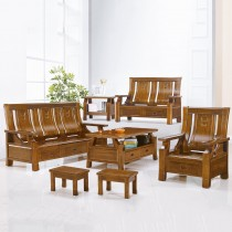 5169型柚木色實木組椅(三人座)