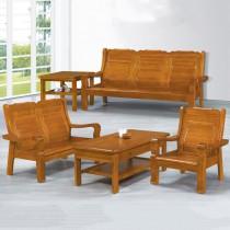 663型柚木色實木組椅(三人座)