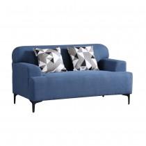 克里森藍色雙人布沙發