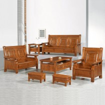 3321型柚木色實木組椅(雙人座)