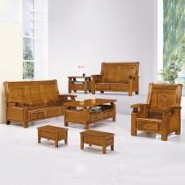 3615型柚木色實木組椅(三人座)