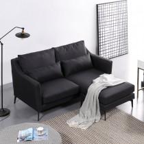 艾爾莎鐵灰色L型布沙發