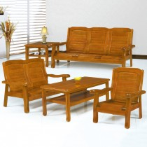 5011型柚木色實木組椅(三人座)