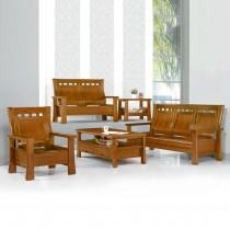 499型淺胡桃色實木組椅(三人座)