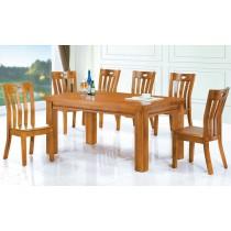 (910)5尺實木餐桌椅(1桌6椅)
