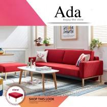 Ada 艾達功能布沙發床-紅色(含腳踏)