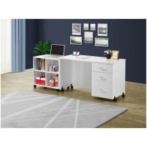 白色4尺活動電腦書桌(含4格活動書櫃)