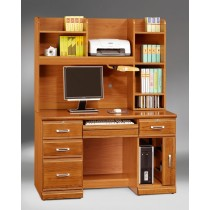 希爾達樟木色實木4.2尺電腦桌(全組)