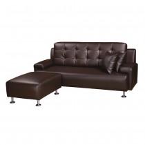 巴菲特透氣皮咖啡色L型沙發(整組)